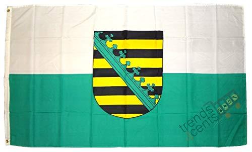 petit un compact Produits de haute qualité – Drapeau SAXONY avec drapeau Oues – Dimensions: 90 x 150 cm – Ne…