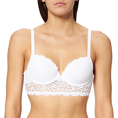 Marca Amazon - IRIS & LILLY Sujetador de Copa Media con Detalle de Crochet Mujer, Blanco (Bright White), 85B, Label: 32B (Ropa)