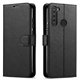 STARSHOP – Samsung Galaxy A21 Phone Case, [NOT FIT A21S/A20/S20] Included [Tempered Glass Screen Protector], Starshop Premium Leather Wallet Pocket Cover And Credit Card Slots – Black