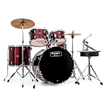Mapex RB5294FTCDR Rebel 5-Piece Drum Set with Hardware Cymbals and 22  Bass Drum - Dark Red