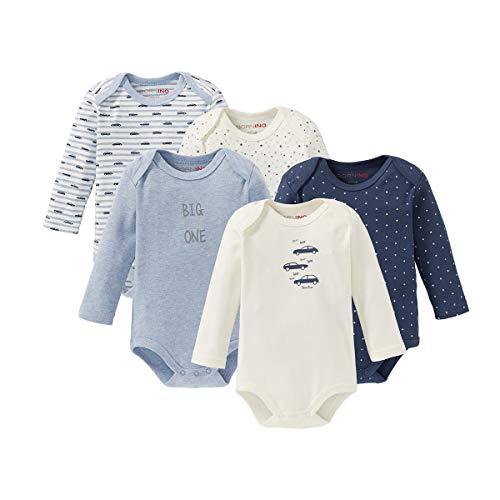 Bornino Le lot de 5 bodys à manches longues bébé, bleu + bleu chiné + écru
