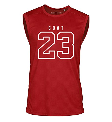 23 Goat Jordan Sleeveless Shirt Greatest of All Time Basketball Jersey Trikot Michael Bulls (S, Rot)