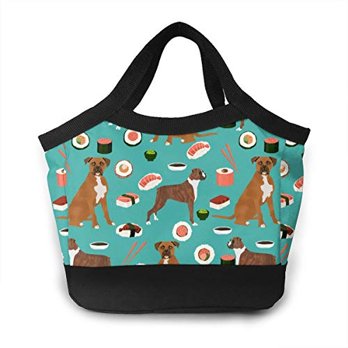 Liusgit Dog Boxer Sushi Chopsticks Cute Japanese Best School Lunch Box Pail Insulated Pack Accessories Ice Cooler Containers Tote Reusable Shopping Bag Hot Food Bento Warmer Prep Set Kit Decorations