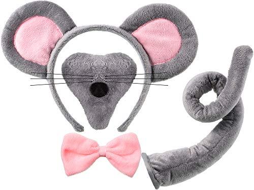 Norme Tier Kostüm Set Maus Ohren Nase Schwanz und Fliege Tier Schick Kleid Kostüm Kit Zubehör für Halloween Party, Halloween Feiern, Kostüm Partys, Ankleiden Spielen