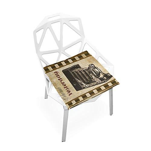 LORONA Vintage Camera Collage Film Grunge Stoel Kussen Stoel Kussens Memory Foam Pads voor Gezond Zitten thuis, Kantoor, Keuken, Rolstoel, Eten, Patio, Camping | Vierkant 16