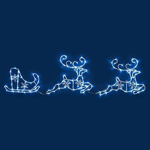 Renos con trineo efecto hielo, 180 x 50 cm, 144 LED luz fría, objetos luminosos, figura de Navidad, decoraciones navideñas