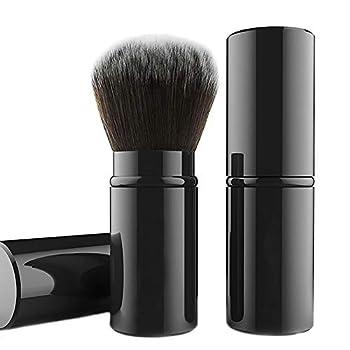 Falliny Retractable Kabuki Makeup Brush Travel Face Blush Brush Portable Powder Brush with Cover for Blush Bronzer Buffing Flawless Powder Cosmetics