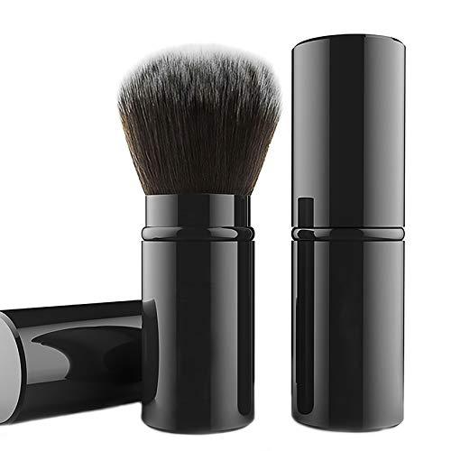 Falliny Retractable Kabuki Makeup Brush, Travel Face Blush Brush, Portable Powder Brush with Cover for Blush, Bronzer, Buffing, Flawless Powder Cosmetics