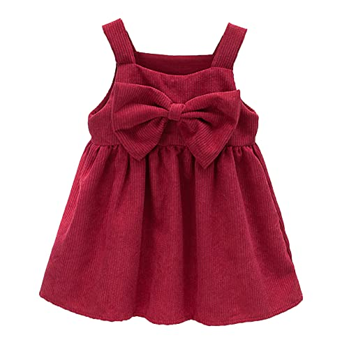 QinCiao Little Girls Toddler Corduroy Pleated Tutu Dress Suspender Straps Bowknot Overall Dress Red 3-4 Years