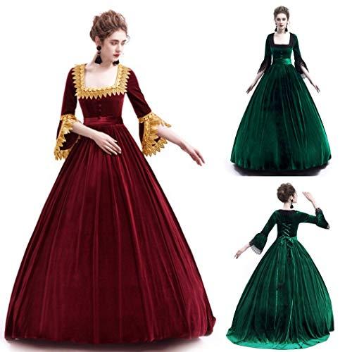 Xisimei Vestido de Halloween para mujer, vintage, estilo gótico, cuello cuadrado, manga de patchwork, estilo medieval, para fiestas de carnaval, rojo, M