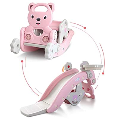Kids Rocking Horse Slide Toy, 4-in-1 Outdoor Slides and Rocking Horse Toys Include Rocking Horse/Slide Toy/Basketball Hoop/Ring Toss Game, Toddler Playground Slide Climber for Kids Ages 3-8 (Pink)