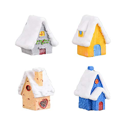 Diyiming 4 Pack DIY Christmas Miniature Dollhouse Realistic Xmas Themed Crafts Snow House Handcraft Creative Model Mini House Fairy Garden Ornament Landscape Decor
