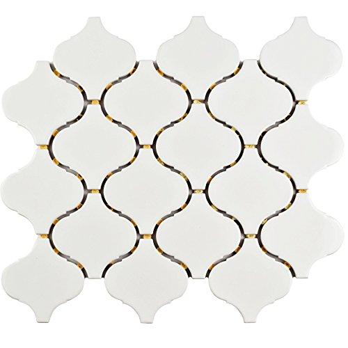 SomerTile FMALTGW Deriba Lantern Porcelain Mosaic Floor and Wall Tile, 9.5