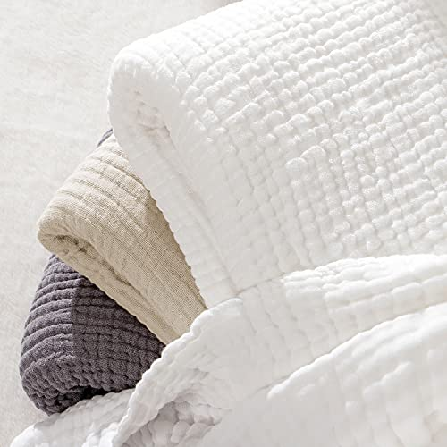 EMME Cotton Blanket Muslin White Throw Blanket for Couch 4-Layer Gauze Blanket Breathable Gauze Blanket All Season Soft and Lightweight Summer Blankets for Adults Cotton Blanket (White, 55'x75')