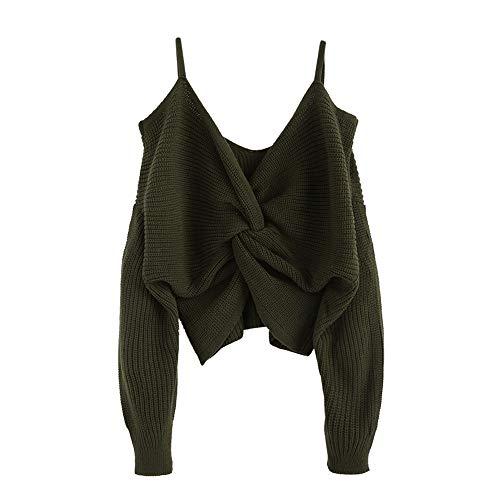 ZAFUL Damen Sexy Trägerlose Schulter Verknotet Locker Strickpullover Tumblr Sling Top Kurz Pullover(Grün,L)