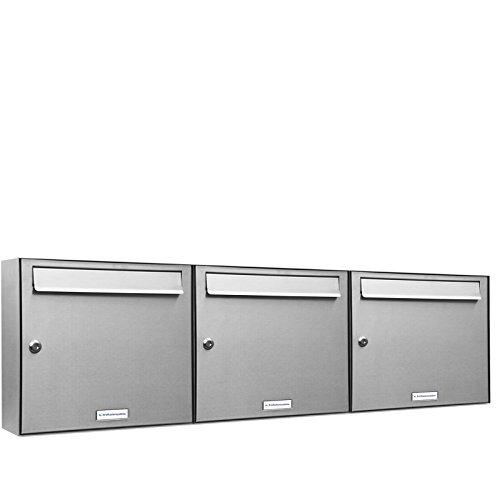AL Briefkastensysteme 3 er Briefkastenanlage Edelstahl, Premium Briefkasten DIN A4, 3 Fach Postkasten modern Aufputz