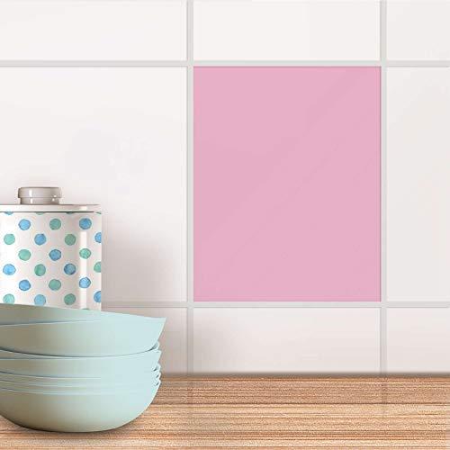creatisto Küchenfolie I Muster-Aufkleber Folie Sticker Mosaik-Fliesen Bad-Fliesen Wanddeko I 20x25 cm Design Motiv Pink Light - 1 Stück