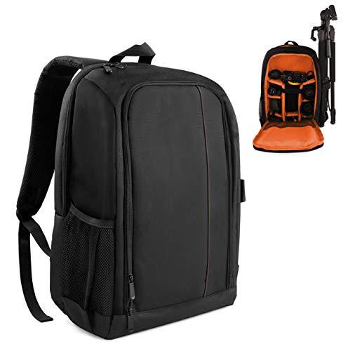 MyGadget Kamerarucksack Spiegelreflex Kamera Fotorucksack für Objektive, Stativ, Zubehör - wasserabweisend für DSLR/SLR - Schwarz Orange