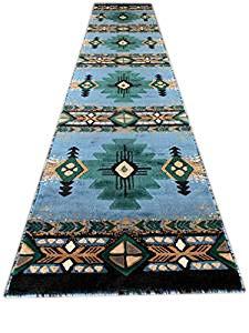 Southwest Indianer Teppich C318 Burgunderrot 60 x 2,1 m 2 Feet 4 Inch X 10 Feet 11 Inch Blau / Grün