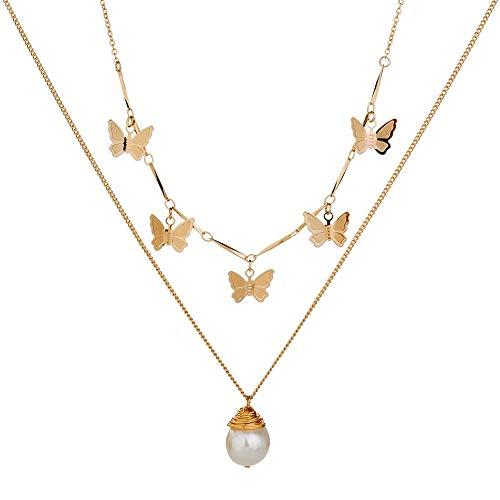 WEFH Collar de Perlas Naturales Cadena de Cuello de Moda Adornos Elegantes Cadena Femenina, Dorado