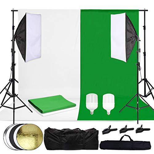 OUBO Profi Fotostudio Hintergrund Set Hintergrundstoff(weiß & grün) Led Softbox Studioleuchte 2x2m Studiosets Hintergrundsystem Fotoleinwand inkl. 5in1 Faltreflektor 60cm Lampenstativ & Schutztasche