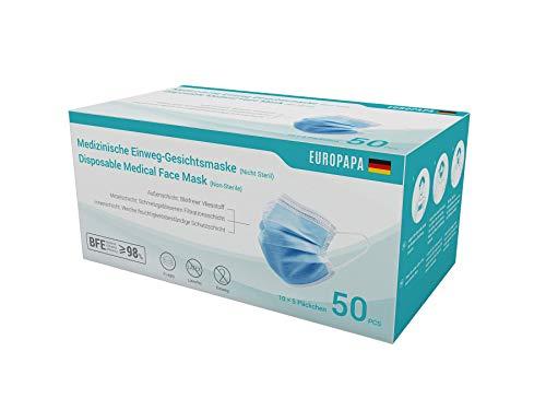 EUROPAPA 50x medizinische OP Maske 3-lagig Atemschutzmasken Typ IIR TÜV CE zertifiziert Chirurgische Einwegmaske Mund und Nasenschutz EN14683 BFE ≥ 98%