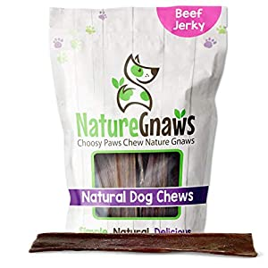 Nature Gnaws Beef Jerky Chews for Large Dogs – Premium Natural Beef Gullet Sticks – Simple Single Ingredient Tasty Dog Chew Treats – Rawhide Free – 9-10 Inch (20 Count)