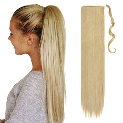 Extensiones de Clip de Pelo Natural Coleta Postiza Extensiones de Cabello Liso Ponytail Largo Clip in Hair Extension Cola Wrap around 80cm Rubio ceniza