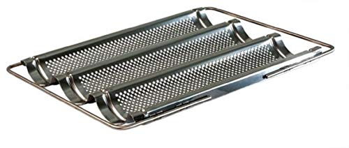 Lares - Baguette-Backblech aus Edelstahl mit ausziehbaren Bügeln - für Baguettes oder Brötchen - Maße: 33 x 43 x 4 cm - Made in Germany