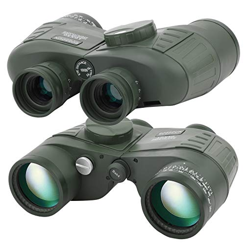 Prismáticos Militares Marinos 10X50 para Adultos, Binoculares Impermeables con Telémetro Brújula BAK4 Prism Lente FMC para Observación de Aves Caza Canotaje
