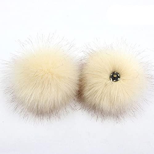 1 pieza de pompones de piel sintética de zorro mullidos de 8 CM con botón de presión/botón o lazo elástico para gorro de punto para mujer, accesorios para bolso, beige