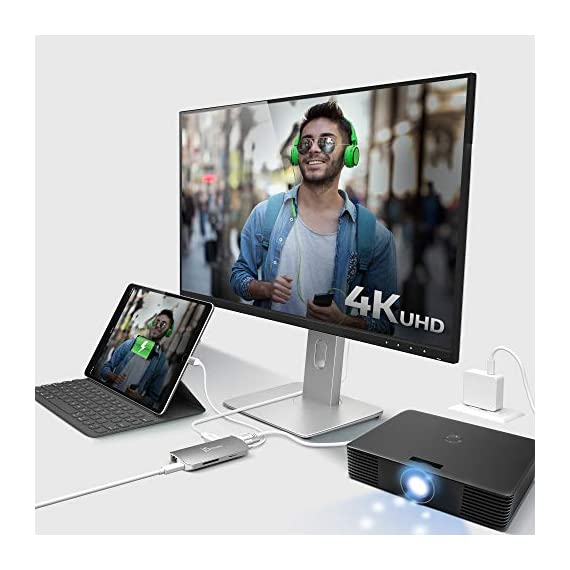 j5create USB C Hub Adapter Multi-Monitor 10-in-1 Port Docking Station 4K HDMI, VGA, Ethernet, USB 3.0, MicroSD, SD, USB… 6 Allows you to connect your laptop to an additional monitor via HDMI or VGA. USB C multi-adapter gives you 2 USB Type-A ports for additional peripherals and 1 USB Type-A port with BC 1.2 to fast-charge your mobile devices. Two USB 3.1 Gen 1 ports provide up to 5 Gbps transfer speed, which is 10x faster than USB 2.0