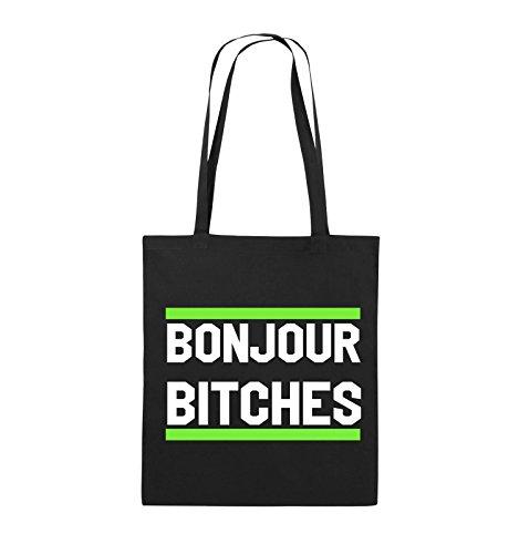 Comedy Bags - Bonjour Bitches - Jutebeutel - Lange Henkel - 38x42cm - Farbe: Schwarz/Weiss-Neongrün