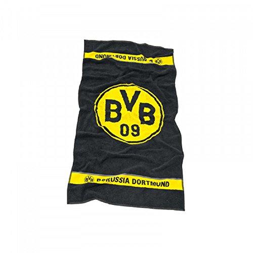 Borussia Dortmund BVB Handtuch mit Emblem, Baumwolle, Schwarz/Gelb, 100 x 50 x 1 cm