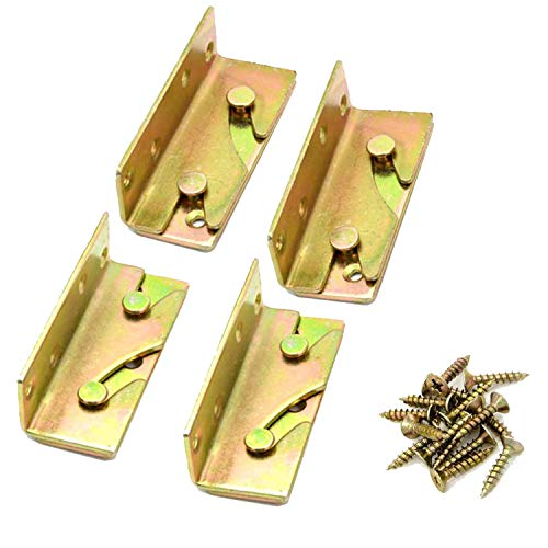 Bed Rail Brackets,Wooden Bed Frame Connector,4 Pieces Bed Frame Hardware.(Including Screws)