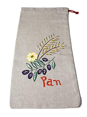 Morla Bolsa Pan Artesanal Decorativa para Cocina. 100% Hecha a Mano, ecológica, Reutilizable y respetuosa con el Medio Ambiente (Eco Friendly). Tamaño Grande 54x25cm (Aceitunas)
