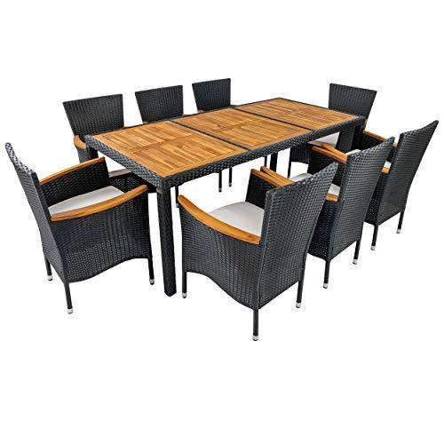 Gartenmöbel Set Garnitur Sitzgruppe 9tlg Polyrattan Holz Akazie Stapelsessel