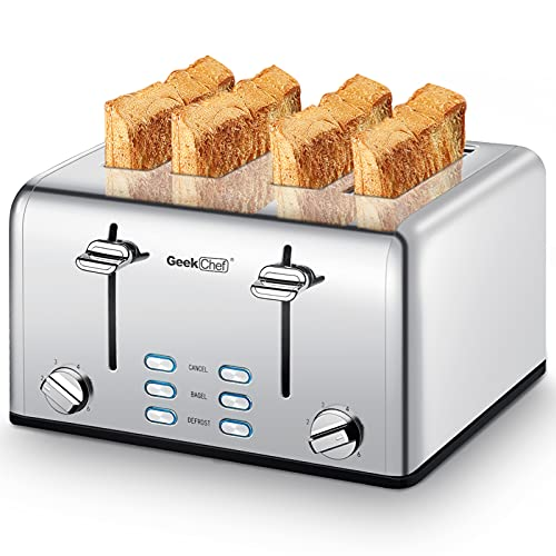 Toaster 4 Slice, Geek Chef Stainless Steel Extra-Wide...