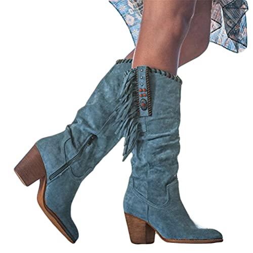 Onsoyours Botas hasta la Rodilla Holgadas para Mujer Punta Puntiaguda con Cremallera Lateral Botas de Tacón Medio GruesoBotas con Flecos Retro Botas Gruesas de Tacón Alto Azul 39