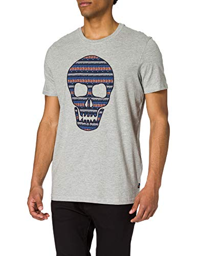 Springfield Camiseta Calavera, Gris Medio, M para Hombre