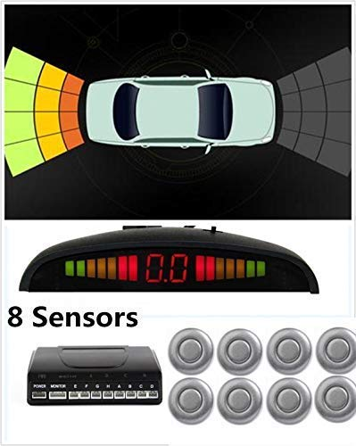 8 Sensors Car Rear Parking Sensor Kit Auto Reverse Backup Radar Stop Park Assistance Buzzer Alarm Monitor Gray