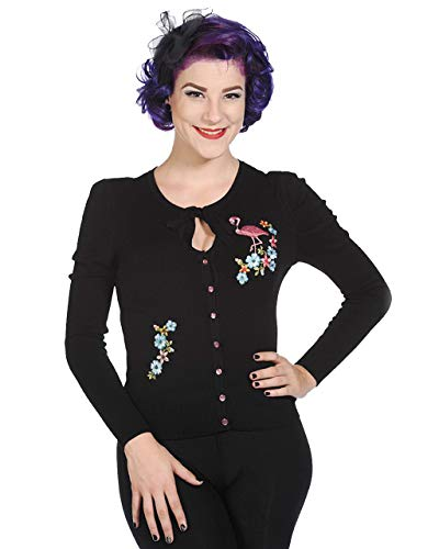 Cute Retro Vintage Flamingo Floral Knitted Cardigan (L) Black