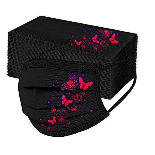 Koippimel 50Pcs, Black Disposable Face_Mask for Adult, Fashion Butterfly Printed Breathable_Masks, 3-Layers High Filtration Non-Woven for Women Men Full Protection, 1116 Style_055