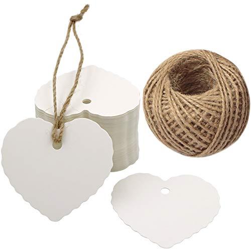 G2PLUS Valentinstag Weiß Geschenkanhänger 100Stk. kraftpapier Etiketten Tags Anhänger Etiketten mit Jute-Schnur 30 Meter