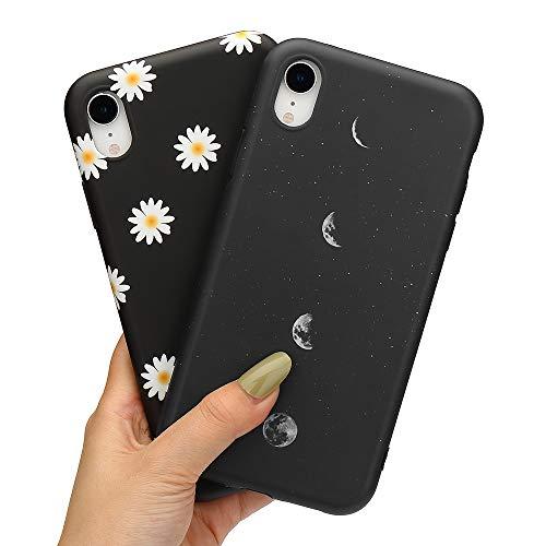 LCHULLE 2 Pack Handyhülle für iPhone Xr Hülle Gänseblümchen Anti-Fingerabdruck Schutzhülle Superdünn Mond Silikon Hülle TPU Bumper Hülle Cover Schutz Tasche Schale Mond und Gänseblümchen