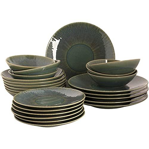 palmer Vernic - Vajilla de cerámica (24 piezas, para 6 personas), color azul y verde