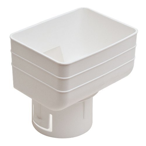 Universal Downspout to Drain Pipe Tile Adapter (White, 3x4x3)