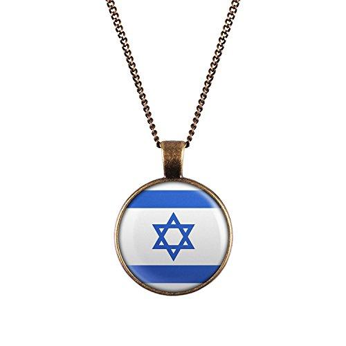 WeAreAwesome Israel Flagge Halskette - Länderkette mit Fahne Anhänger Unisex Kette