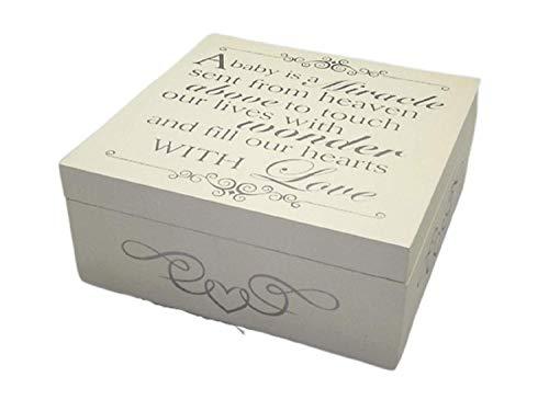 Global Designs F0798B Boîte à souvenirs en bois Inscription A Baby Is A Miracle Crème/argenté