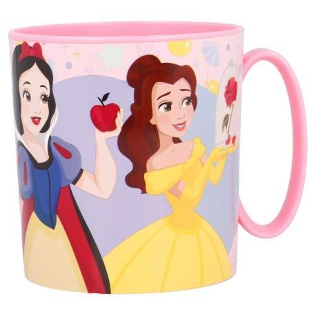 Disney Princess - Taza de plástico para microondas con asa para desayuno, 350 ml
